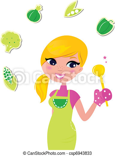 Cooking woman preparing healthy green food isolated on white - v - csp6943833