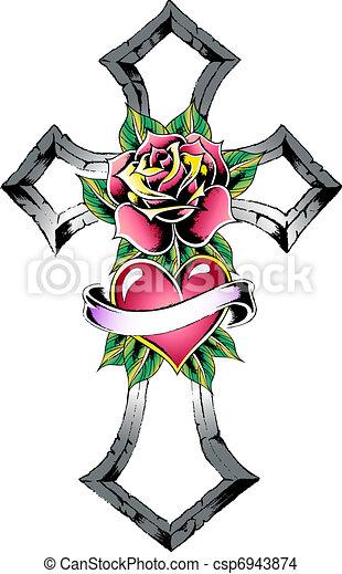 gothic cross tattoo - csp6943874