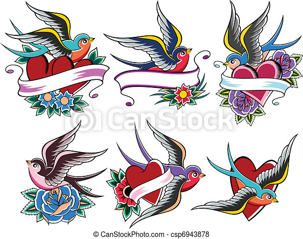 Vector  Bird Tattoo Stock Illustration Royalty Free Illustrations