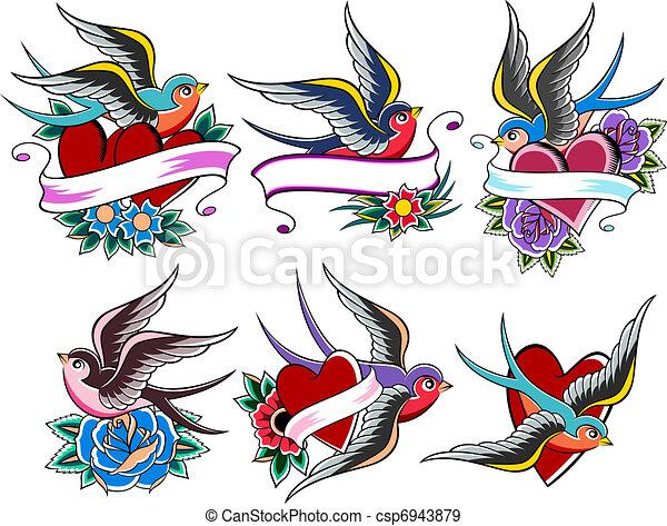 illustration de tatouage style ensemble oiseau style. Black Bedroom Furniture Sets. Home Design Ideas