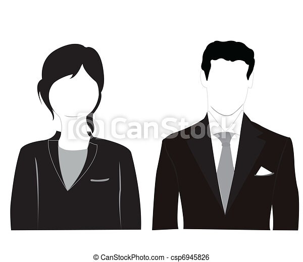 Male and feminine silhouettes on white background - csp6945826