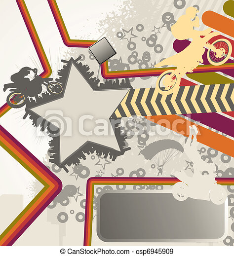 Urban retro vector composition with city skyline and motorcyclist silhouettes - csp6945909