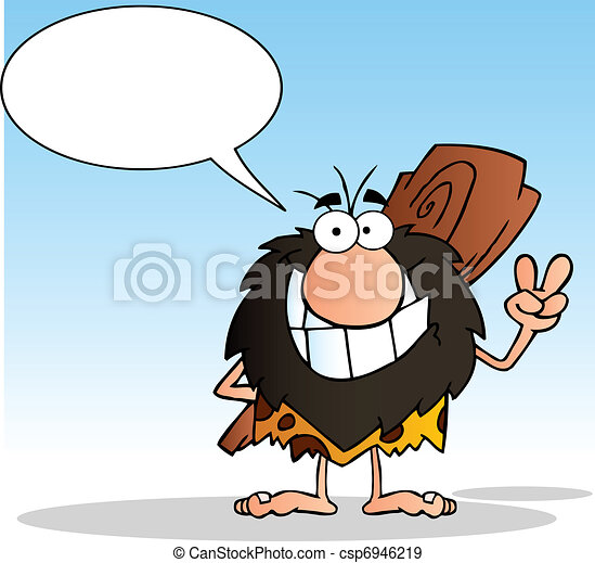 Caveman And Speech Bubble - csp6946219