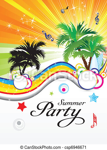 Vector Clip Art Of Abstract Summer Party Theme Vector Illustration  Csp6946671.