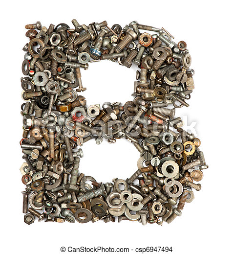 alphabet made of bolts - The letter b - csp6947494