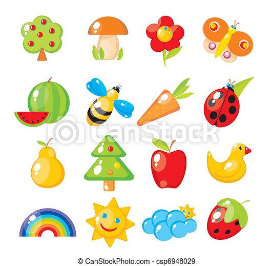 Nature-study children. Flora and fauna, natural phenomena. - csp6948029