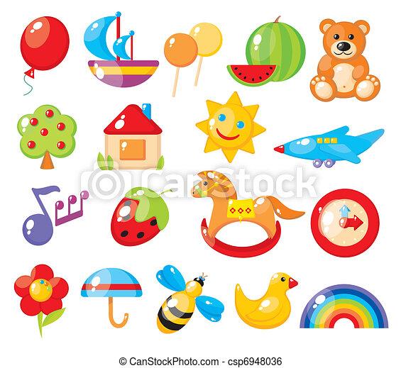 set of colorful children's pictures for kindergarten  - csp6948036