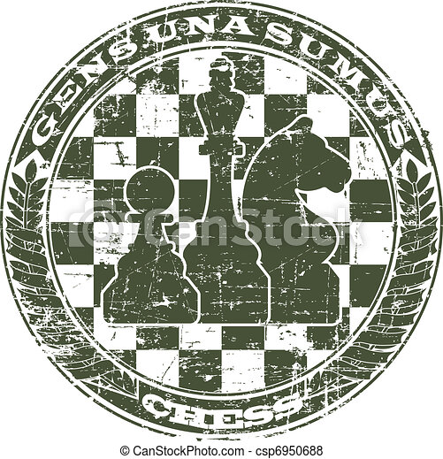 Chess emblem in the form of a stamp - csp6950688