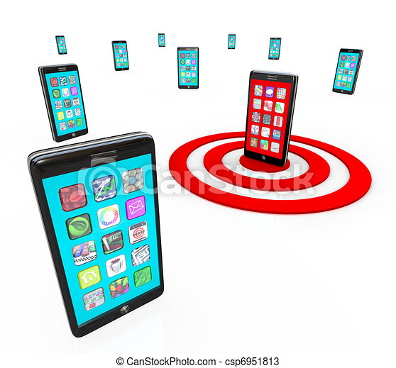 Targeted Smart Phone Application Icons for Apps - csp6951813
