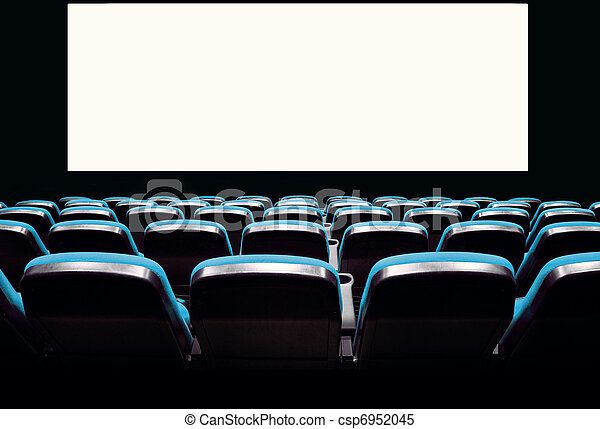 Empty blue seats in a cinema - csp6952045