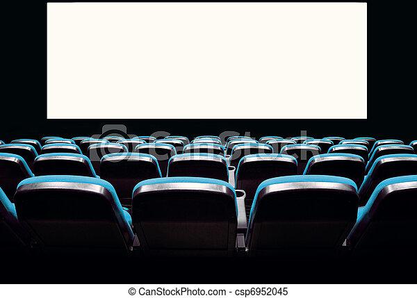 Empty blue seats in a cinema - csp6952045