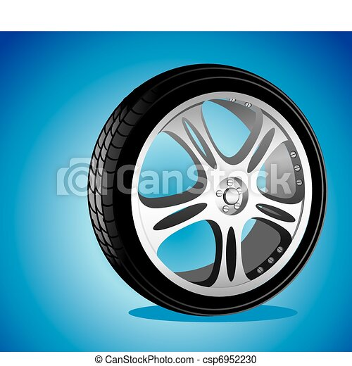 automotive wheel with alloy wheels and low profile tires  - csp6952230