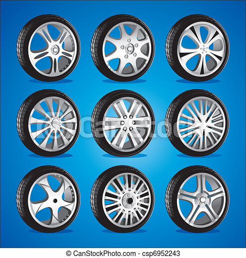 automotive wheel with alloy wheels and low profile tires - csp6952243