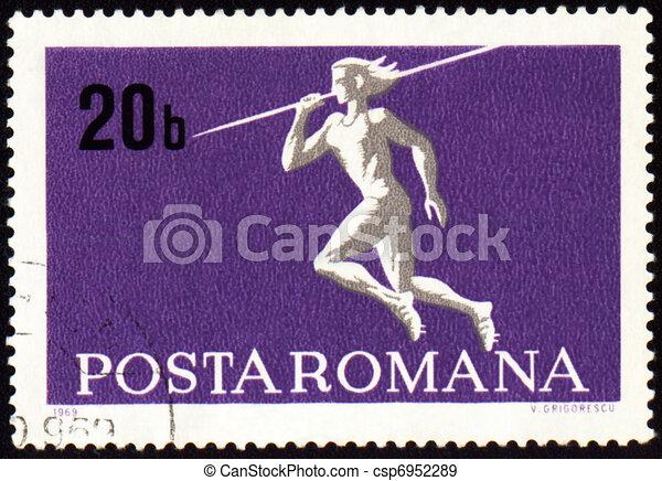 Javelin throwin on post stamp - csp6952289