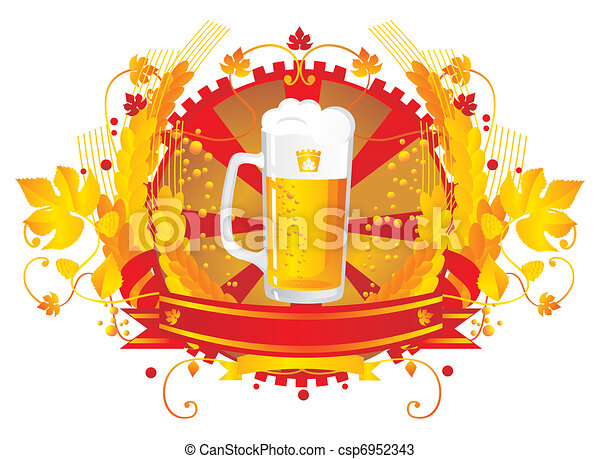 Beer mug in a vignette - csp6952343