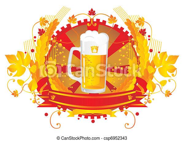 Beer mug in a vignette  - csp6952343