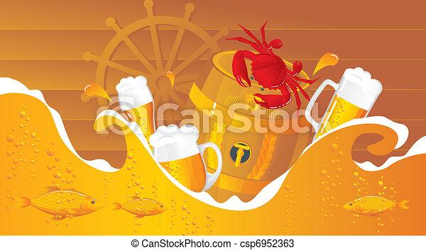 The beer sea with beer kegs - csp6952363