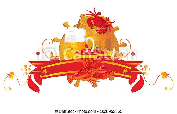 Beer vignette in sea style. - csp6952365