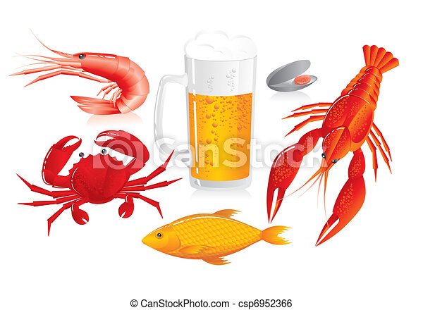 Mug of beer and snack to beer - seafood - csp6952366