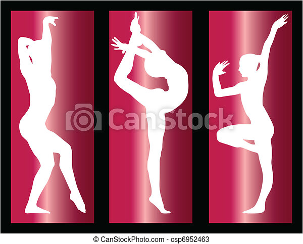 gymnastic girls on with background - csp6952463