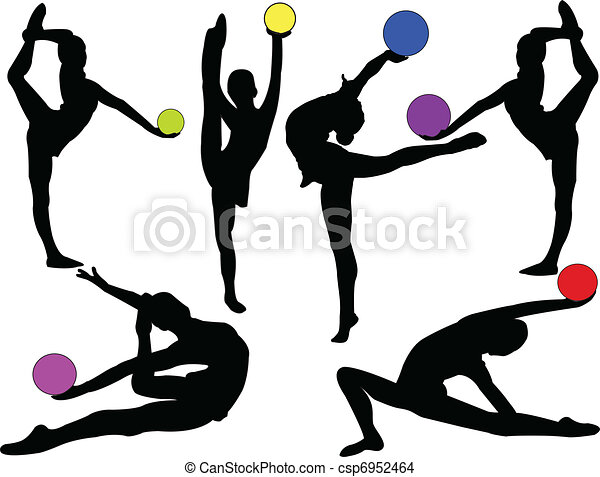 gymnastic girls with ball - vector - csp6952464