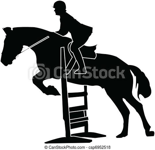 horse race silhouette - vector - csp6952518