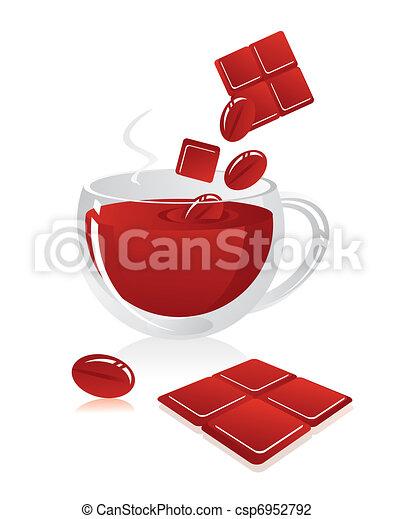 Glass mug with hot chocolate or coffee  - csp6952792