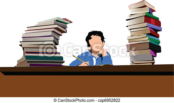 Boy sitting between column books - csp6952822