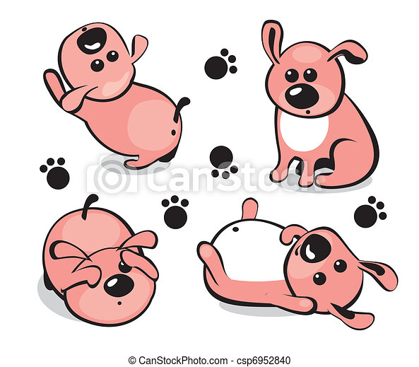 Little puppy in different poses  - csp6952840