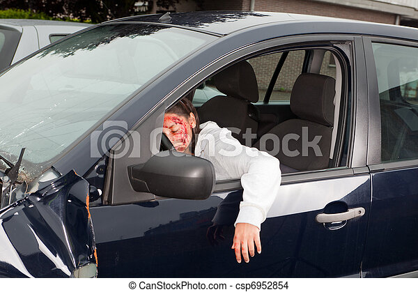 X 15 Crash Stock Photo of Bleeding victim in car crash - Bleeding woman driver ...