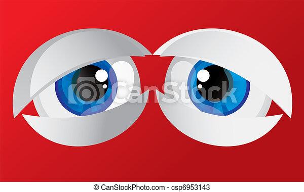 hypertrophied, huge balls bulging eyes  - csp6953143