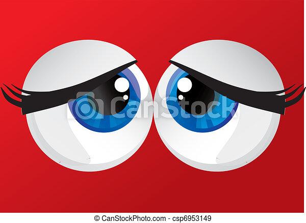 hypertrophied, huge balls bulging eyes  - csp6953149