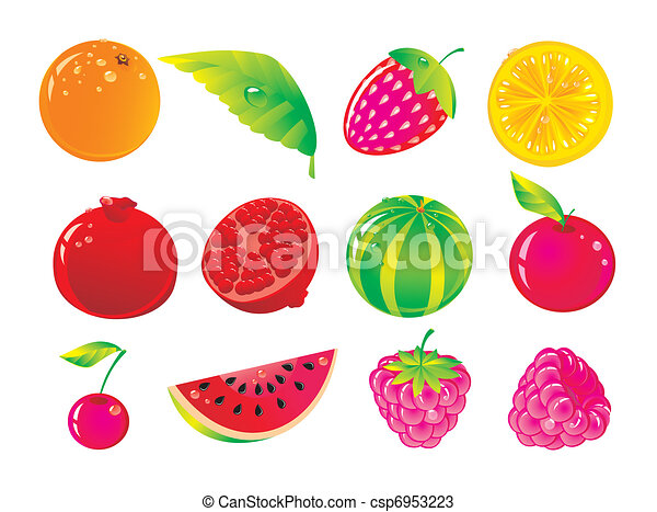 Set from juicy fruit and ripe berries  - csp6953223