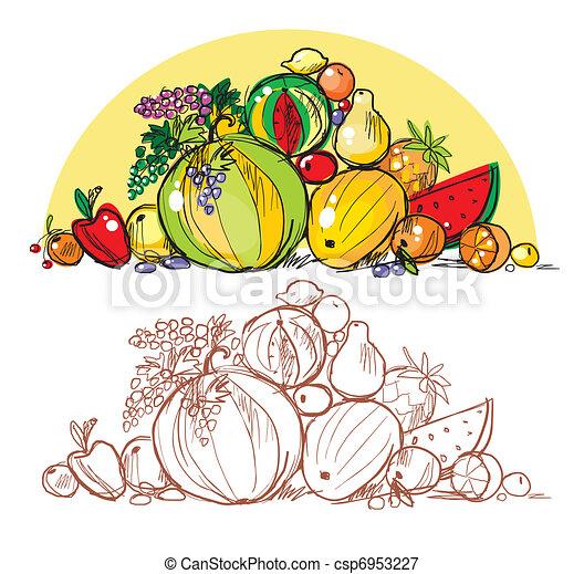 Heap of multi-coloured fresh fruit  - csp6953227