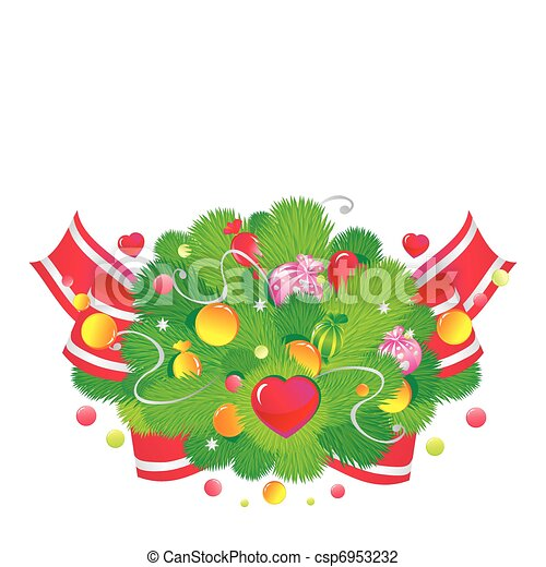The Christmas fur-tree decorated with sweets and hearts - csp6953232