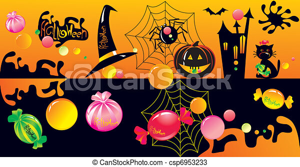 Halloween character set with sweets  - csp6953233