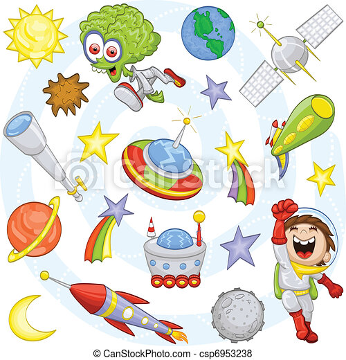 Cartoon outer space set - csp6953238
