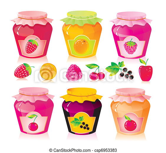 Set from jars with fruit and berry jam - csp6953383