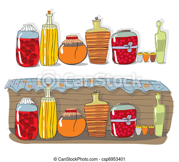 Shelf with homemade jam and spices  - csp6953401
