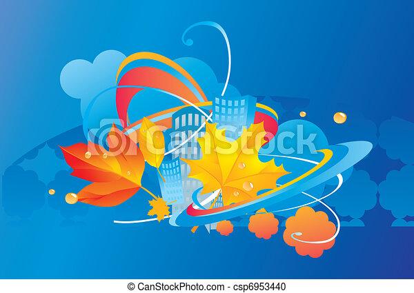 Abstract representation of an autumn city  - csp6953440