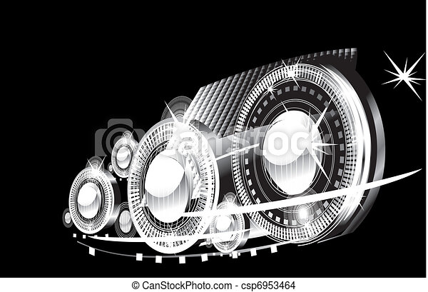 abstract background - bright flashes in the black  - csp6953464