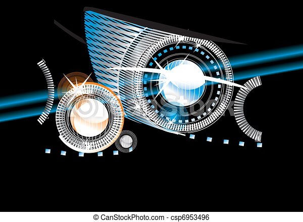 abstract background - bright flashes in the black  - csp6953496