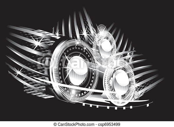 abstract background - bright flashes in the black  - csp6953499