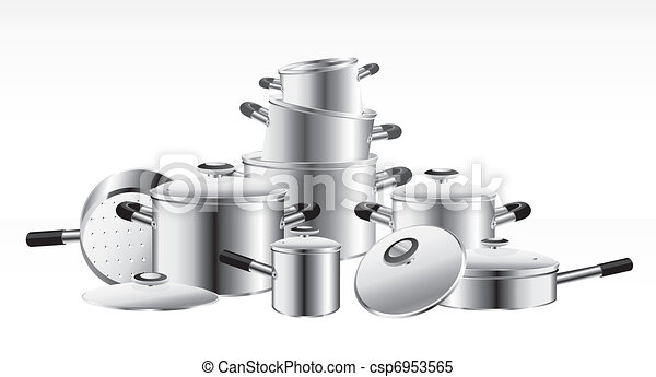 set of chrome-plated pans  - csp6953565