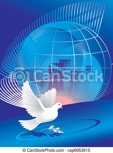 dove of peace near globe - csp6953615