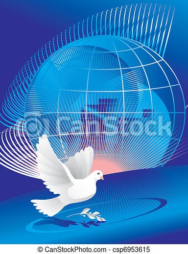 dove of peace near globe  - csp6953615