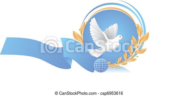 dove of peace near globe - csp6953616