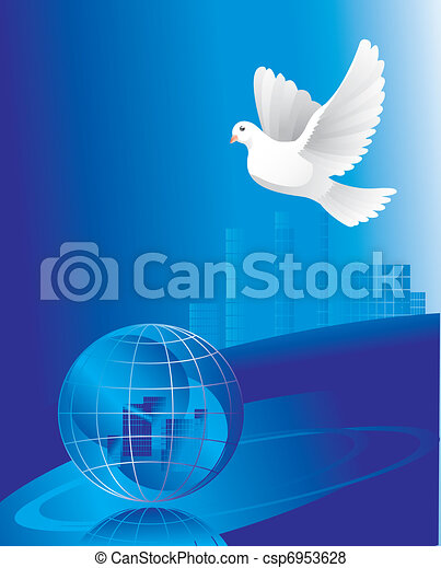 dove of peace near globe  - csp6953628