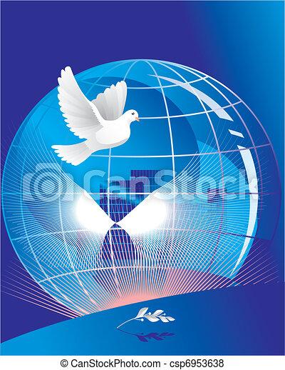 dove of peace near globe  - csp6953638