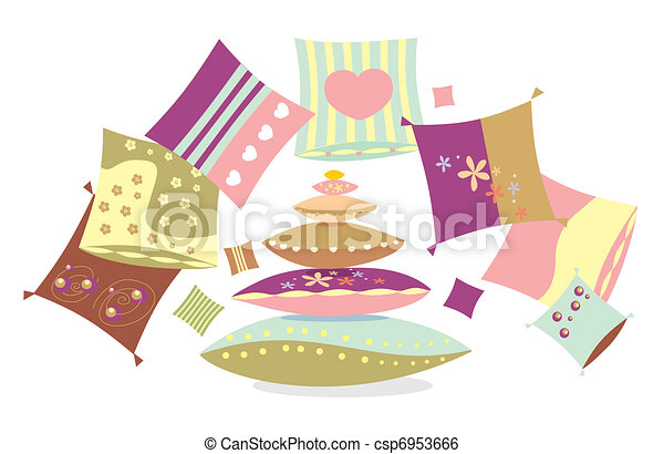 Set of multi-coloured pillows with patterns  - csp6953666